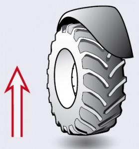 3. Įsitikinkite, kad traktoriaus ratas yra šiek tiek pakeltas