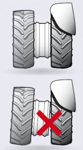 5. Make sure that the main tractor wheel and redundant wheel are on the same level.