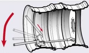 5.Зацепите винтовой крюк (С) с рым-гайкой (А) и соедините замковое крепление (В) с ребром кольца обода. Отрегулируйте гайку М20 (D) в винтовом крюке при открытом замковом креплении. Для нажатия замкового крепления используйте рычаг (F) Убедитесь, что замковое крепление полностью зафиксировалось.